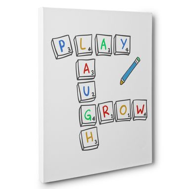Custom Made Play Laugh Grow Canvas Wall Art