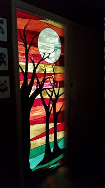 "Custom Made Stained Glass Panel -  ""Trees Under The Moon"" (P-57)"