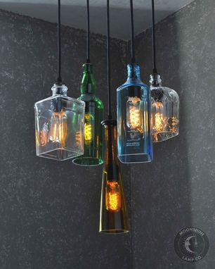 Custom Made The Glendora - Recycled Bottle Light Chandelier