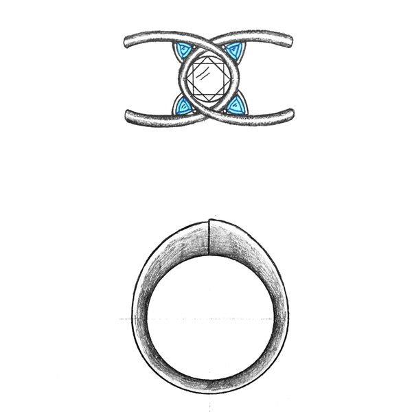 Our design for a unique diamond engagement ring whose band shape is inspired by Bernoulli's lemniscate, an infinity-like symbol folded around the finger.