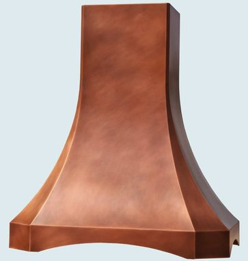 Custom Made Copper Range Hood With Arched Band
