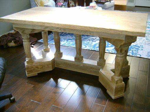 Custom Made Oak Turned Leg Desk