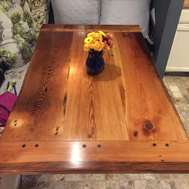 Custom Made Old Growth Yellow Pine Farm Table With Beeswax Finish