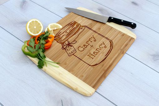 Custom Made Personalized Cutting Board, Engraved Cutting Board, Wedding Gift – Cb-Bam-Gary Nancy Mason Jar