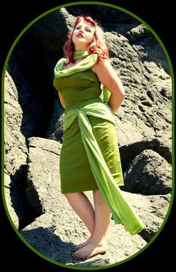 Custom Made Green Goddess Gown In Cotton Sateen And Silk Chiffon With Swarovski Crystal Beading