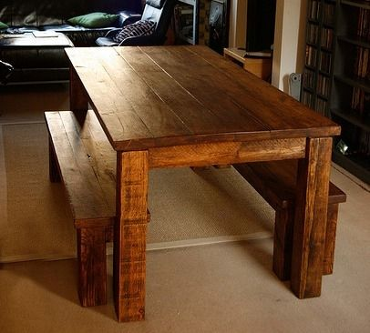 Custom Made Farm Table And Bench Set