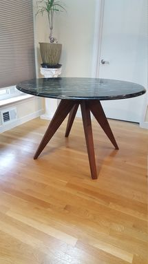 Custom Made Black Walnut Modern Table Base For 48 Inch Marble Tabletop