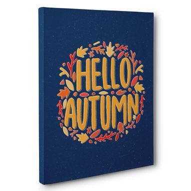 Custom Made Hello Autumn Navy And Leaves Canvas Wall Art