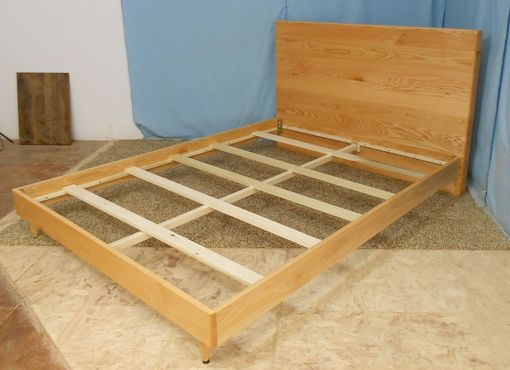 Custom Made King Size Oak Danish Modern Bed
