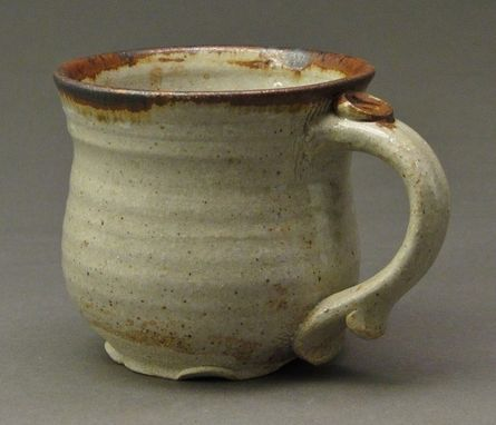 Custom Made Stoneware Pottery Mug With Wood Ash Nuka Glaze And Iron Accents That Are Rust Colored, (Sku 16)
