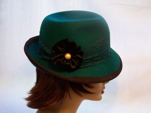 Custom Made Black Trimmed Jade Green Trilby