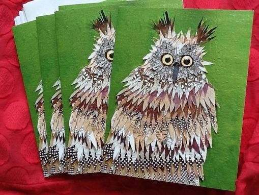Custom Made Deer In Headlights Owl Notecard Set