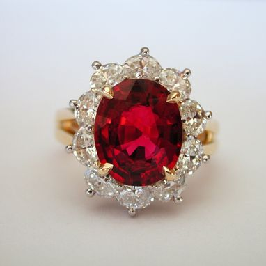 Custom Made Red Spinel And Diamond Ring