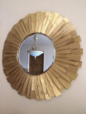 Custom Made Sunburst Wall Mirror Wood Burst Gold 24""