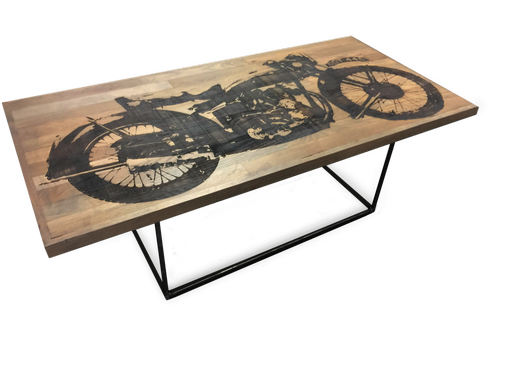 Custom Made Etched Motorcycle Coffee Table