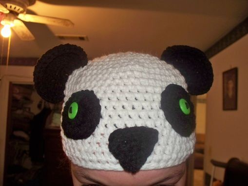 Custom Made Handmade Crochet Panda Hat, Beanie, Panda Beanie With Button Eyes, Adult Size