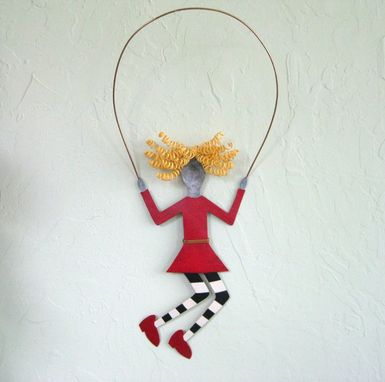 Custom Made Handmade Upcycled Metal Blonde Jump Roping Kid Wall Art Decor