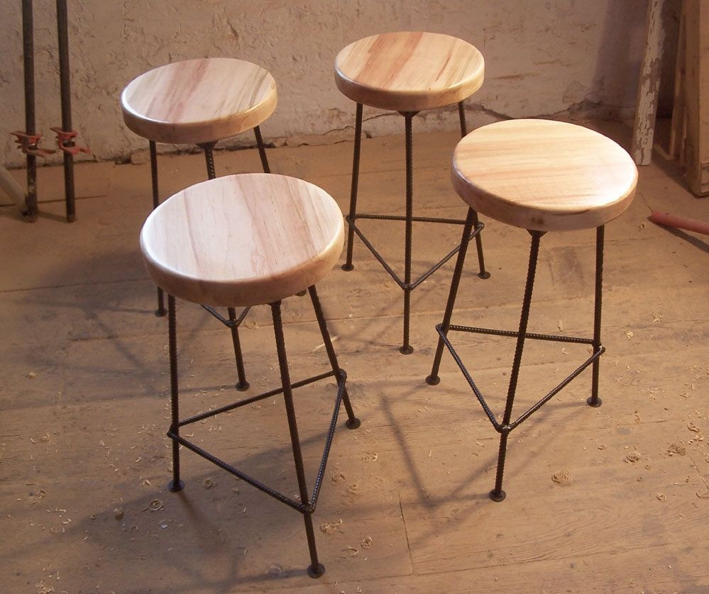 Bar Stool Made From Maple And Metal