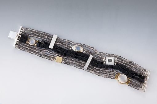 Custom Made Beaded Bracelet With Sterling Silver And 18 Carat Gold, Black Onyx And Gray And White Moonstonehite Mooonstone