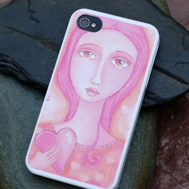 Custom Made Iphone 5 Case Original Artwork Pink Girl Heart Folk Art Love White Hard Plastic - Holding On