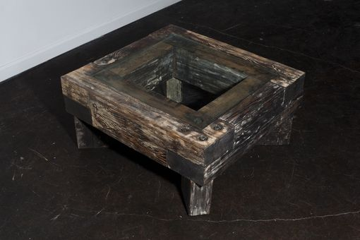 Custom Made Reclaimed Beam Coffee Table With Glass Top