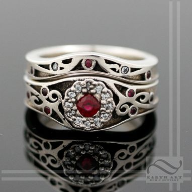 Custom Made Vintage Ruby And Diamond Wedding Set In 14k White Gold
