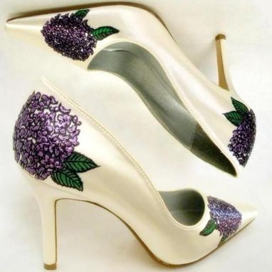 Custom Made Wedding Shoes Hand Painted Hydrangeas Ivory Pumps