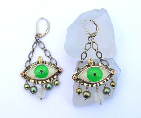 Custom Made Evil Eye Earrings - Green
