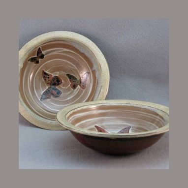 Custom Made Butterfly Bowls Set Of 2 With Beige Rim Stoneware