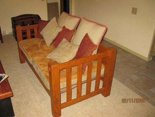 Custom Made Oak Mission Style Sofa