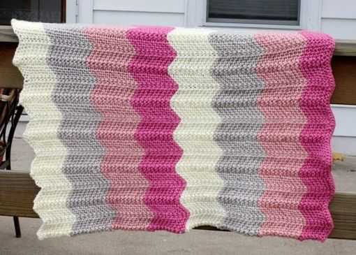 Custom Made Knit Chevron Ripple Baby Blanket - Pink, Grey And White