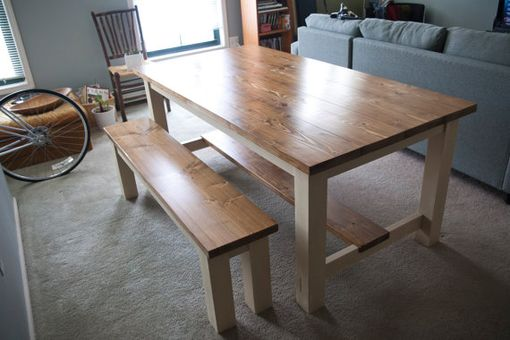 Custom Made 8' Harvest Table | Solid Wood Farmhouse Dining Table With Stretchers | Rustic Harvest Table