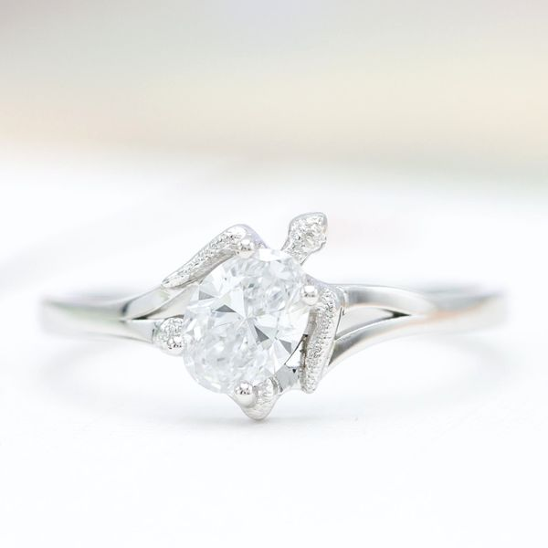 A sleek, minimal take on a turtle engagement ring with an oval diamond in white gold.