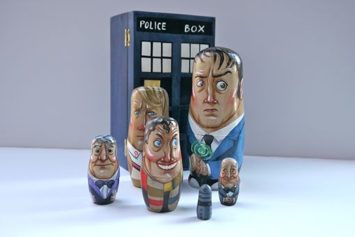 Custom Made Doctor Who Nesting Doll Set With T.A.R.D.I.S. Box
