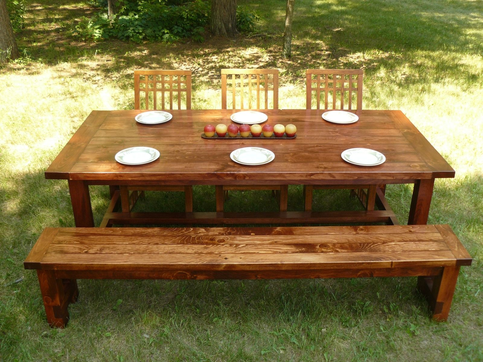Custom made farmhouse style dining table and bench by for Farmhouse style dining set