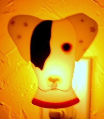Custom Made Custom  Fused Glass Pet Portrait Nightlight -