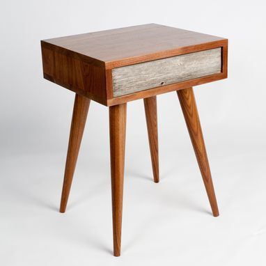 Custom Made Rustic Mid-Century Side Table, End Table, Nightstand With Drawer