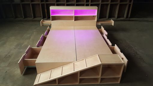 Custom Made Modernist Maple Storage Bed With Pet Ramp