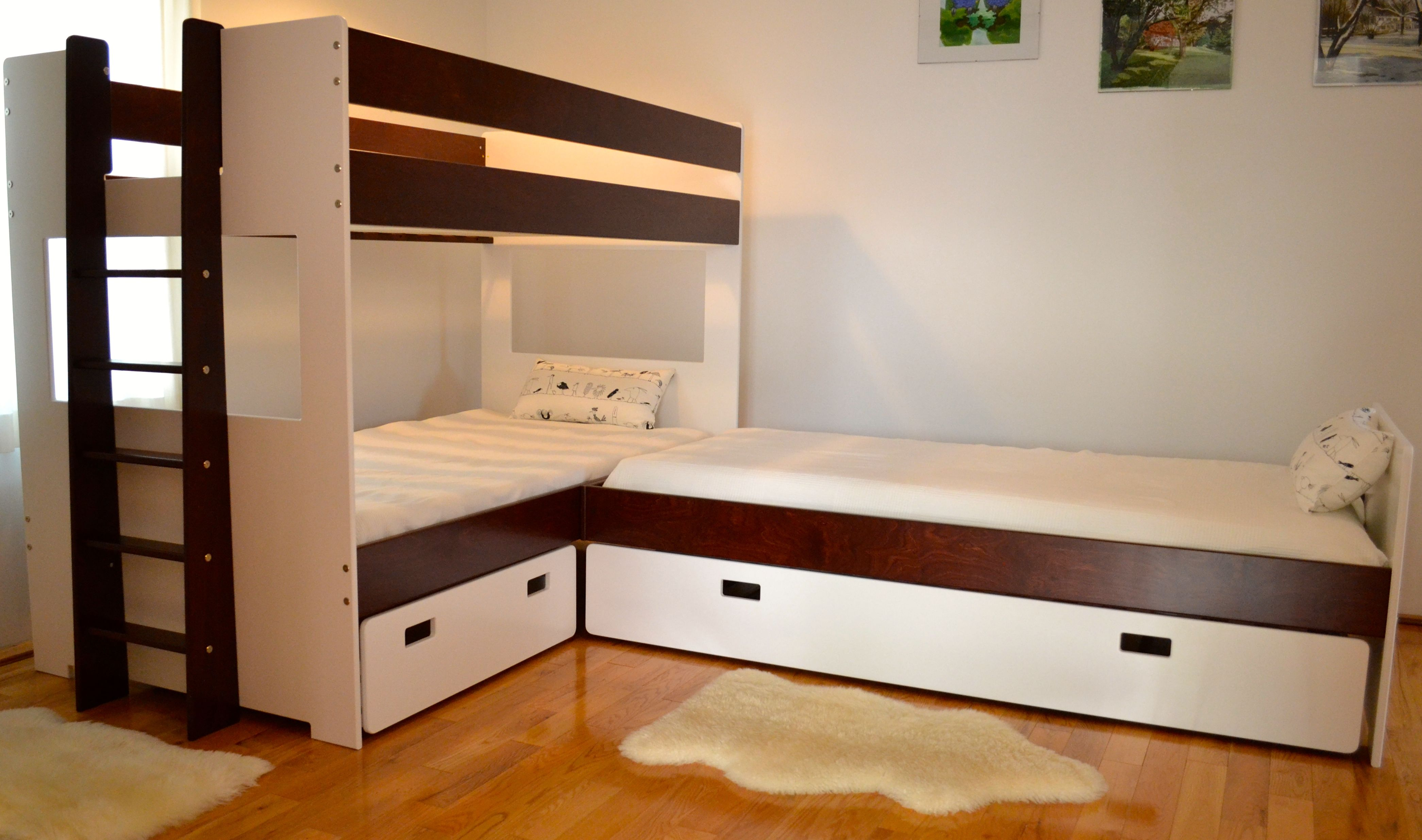 Hand Crafted L Shaped Bunk Bed Combination By Loft And Bunk