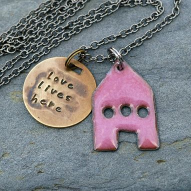 Custom Made House Pendant Copper Enamel Home Necklace Handstamped Brass Tag Enameled Pink- Love Lives Here