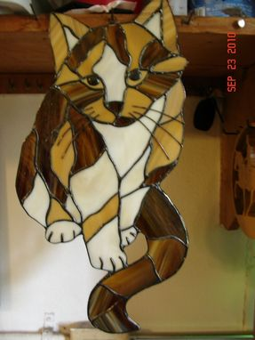 "Custom Made Calico Cat Stained Glass Picture ""Callie"""