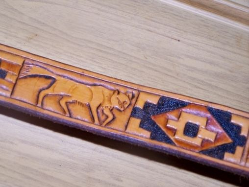 "Custom Made Hand Tooled Leather Belt 1-1/4"" ""Cougar"" Design"