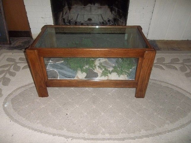 Custom Made Solid Oak Coffee Table Wildlife Art By North Lodge