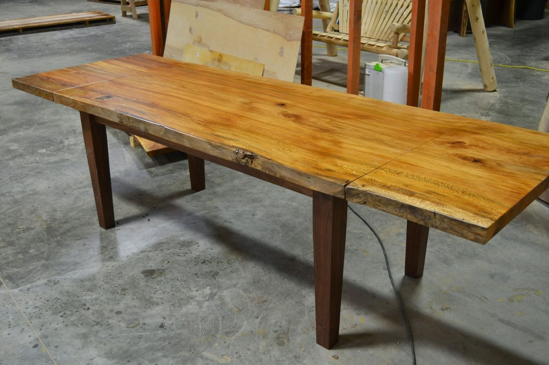 Hand Made Live Edge Slab Dining Table With Extensions by Corey