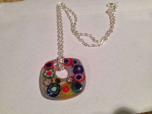 Custom Made Fused Glass Italian Millerfiori Necklace With Silver Cable Chain