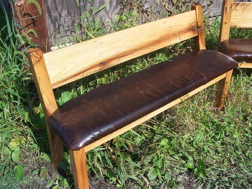 Custom Made Custom Reclaimed Wood Farm Bench With Relaxed Back And Leather Seat