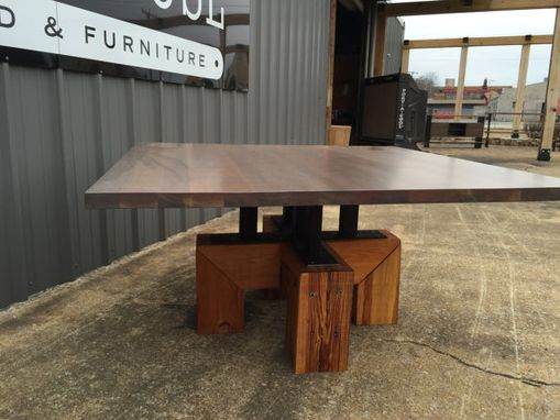 Custom Made Conference Table Coastal Industrial With Antiqued Cherry Conference, Entry Way Or Dining Table.