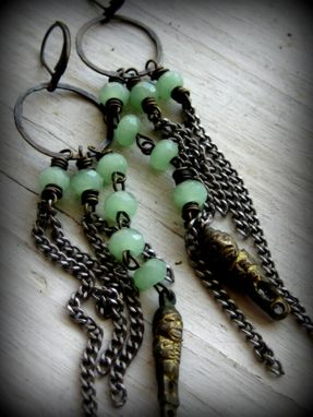 Custom Made Vintage Brass Mayan Idol With Mint Green Gemstones Dangling Earrings