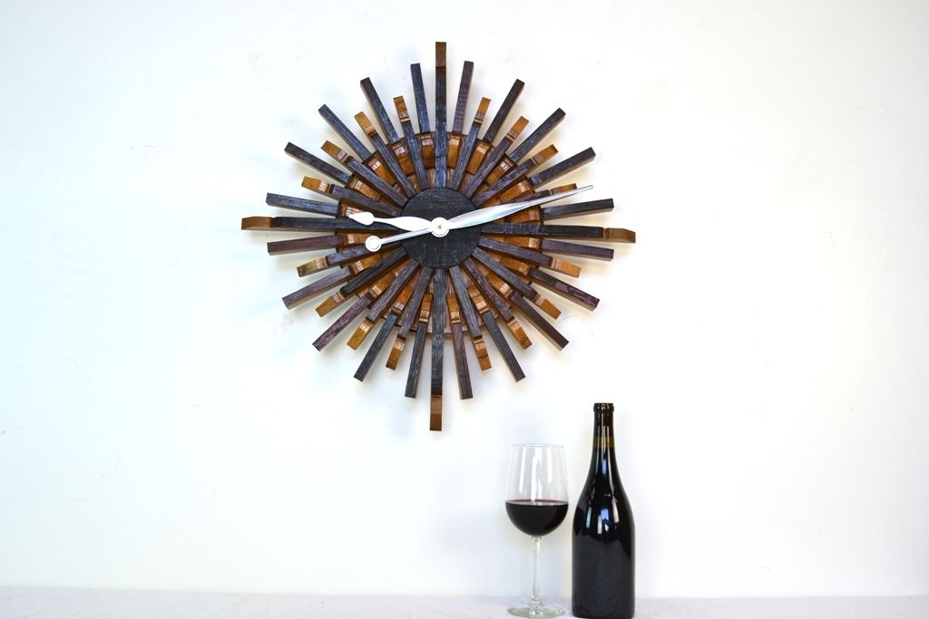 Wine Barrel Wall Art buy a custom radiant - clock - wine barrel stave clock, made to