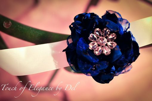 Custom Made Royal Blue And White Sash Belt / Headband With Rhinestone Brooch